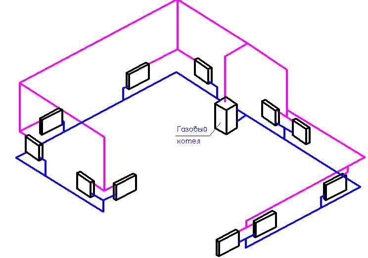 Схема системы отопления в частном одноэтажном доме своими руками 789