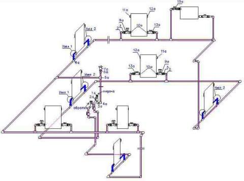 На примере показана схема однотрубной системы отопления дома общей площадью до 100 м2.  Мы видим, что наибольшее...