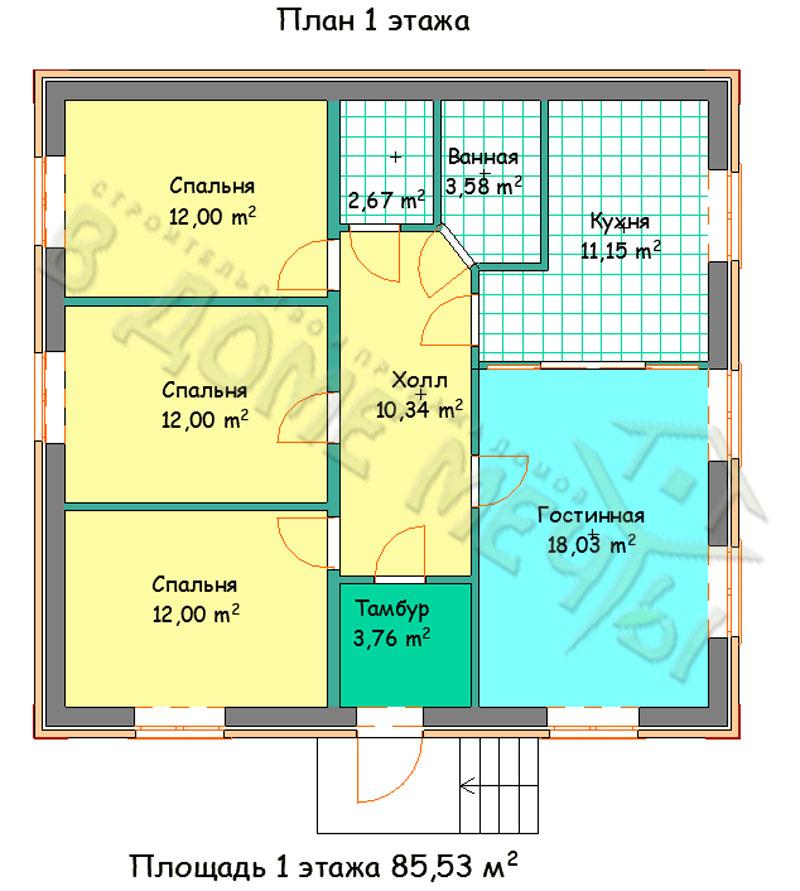 Прект одноэтажного дома в Белгороде план