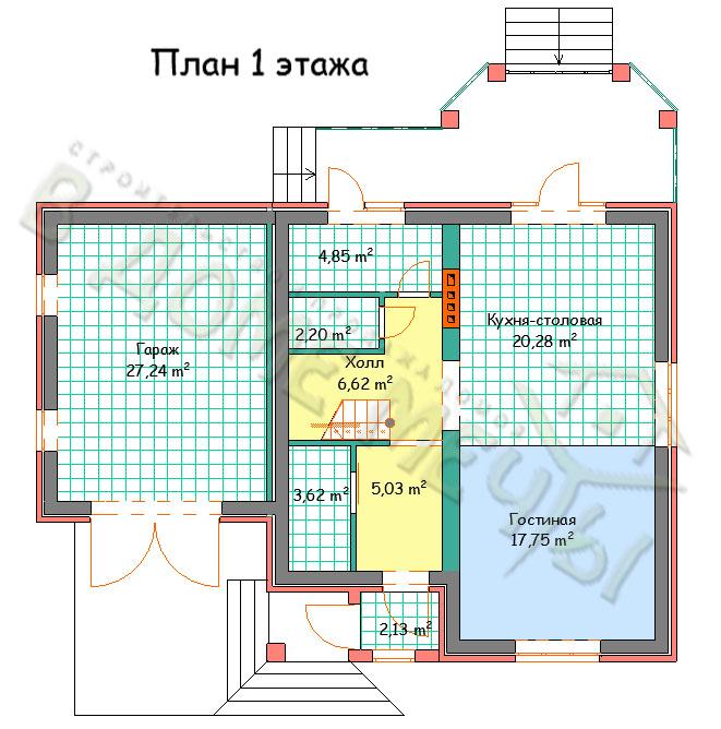 Проект мансардного дома в Белгороде план 1 этажа