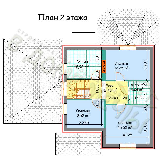 Проект мансардного дома в Белгороде план 2 этажа