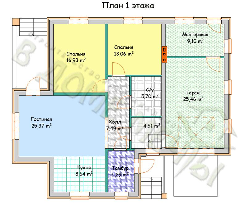 Проект одноэтажного дома в Белгороде O121-4k-gk