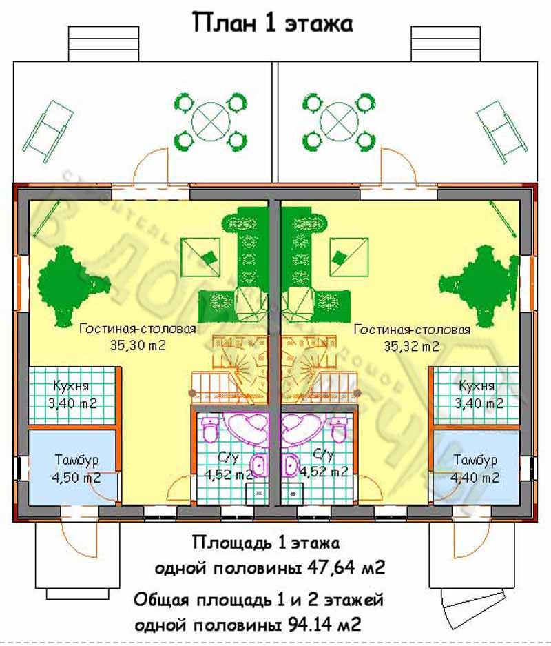 Проект дома на две семьи в Белгороде план 2