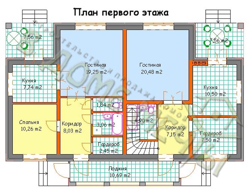Проект дома на две семьи_план1