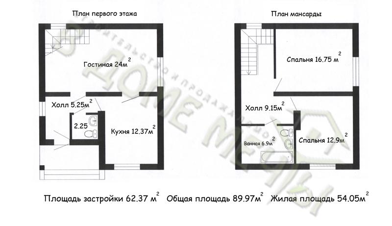 проект мансардного дома в городе Строитель plani